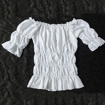 Women Victorian White Vintage Lolita Blouse Shirt Top Reenactment Fancy Dress