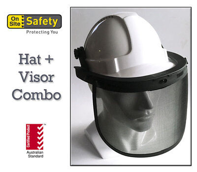Vented Hard Hat and Wire Mesh Face Shield  Certified Australian Standard WHITE