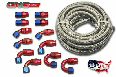 AN-6 AN6 Stainless Steel PTFE Fuel 30FT Red 12 Fittings Hose End Ethanol Kit