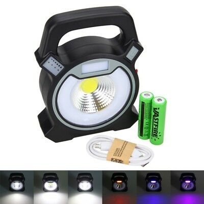 Portable USB Rechargeable 10W COB LED Working Warning Light 2x 18650 Camping