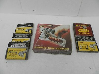 vintage t-50 heavy duty staple gun tacker by arrow with 5x boxes staples boxed