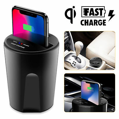 Fast Qi Wireless Charger Car Charger Cup Holder For iPhone X 8 Samsung  S6 S7 LG