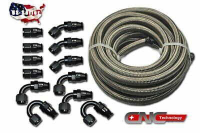 AN6 AN-6 Stainless Steel Nylon Oil Fuel Line Hose End Fitting Kit 10M black