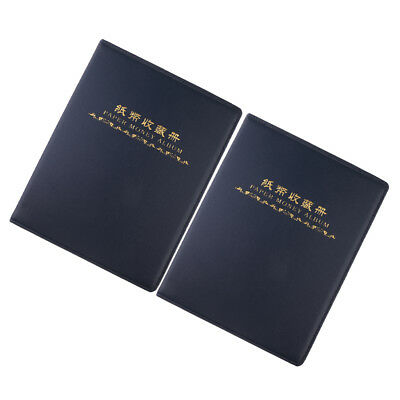 2 Paper Money Collection Album Storage 60 Pockets Banknote Holders Book Blue