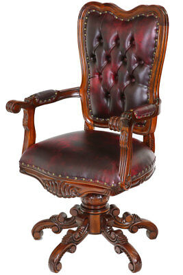 Mahogany Swivel DESK CHAIR, CHESTERFIELD DREHSESSEL, MAHAGONI BÜROSTUHL drehbar