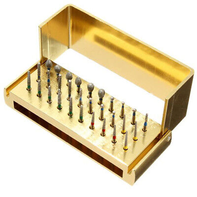 30X Dental Diamond Burs Drill+Disinfection Block High Speed Handpieces Holder H7