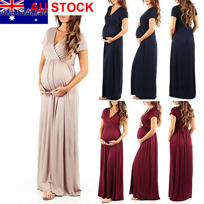 AU Pregnant Women V neck Short Sleeve Long Maxi Dress Maternity Photography Prop
