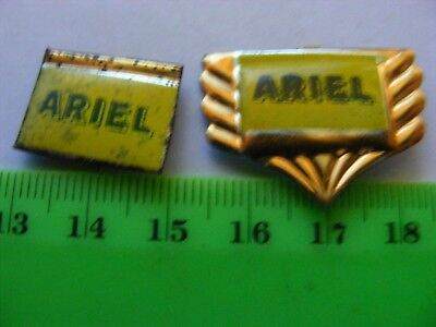 Lot of 2 ARIEL  motorcycle very old lapel,hat pin badges...Tinplate..1950s.