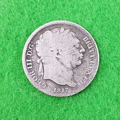 King George III Silver Sixpence 6D Coin - 1817 - Laureate Bust - 92.5% Silver