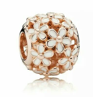 Beautiful Sterling Silver 18K Rose Gold Plated Openwork White Daisy charm Bead