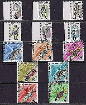 Togo 1966 - 1997 Complete Sets - 13 Stamps - Military Uniforms - Fish & Boats