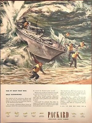 1945 Packard Engines WW2 US Navy PT Boat Wreck art by Ben Stahl Color Print ad