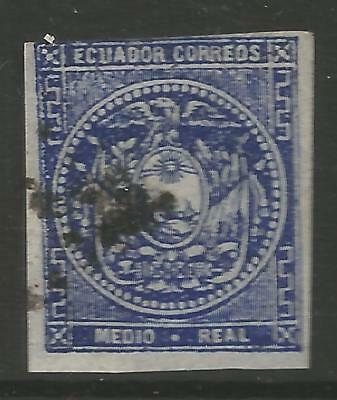 STAMPS-ECUADOR. 1865 ½ Real Deep Blue. 1st Printing. 3 Margins. SG: 1. Fine Used