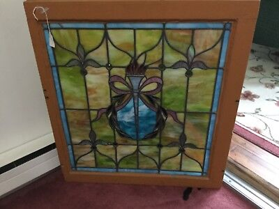 Antique Framed Stain Glass Window