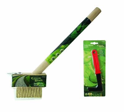 Garden Patio Weed Knife & Wire Brush Weeding Set Weeder Tool Moss Paving Scraper