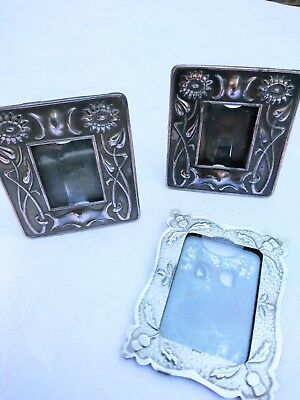 3 x Antique/Vintage small arts and crafts photo frames