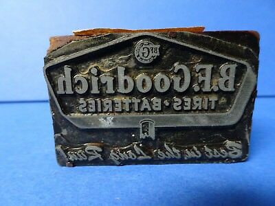 B. F. Goodrich Tires Batteries Letterpress Printing Block Vintage 1950's