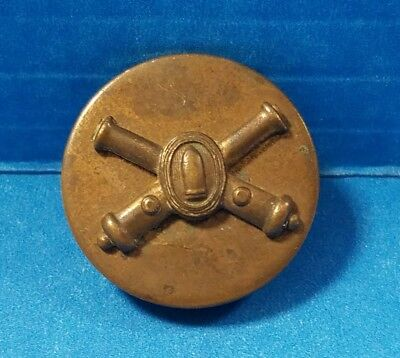Vintage Ww2 Us Army Artillery Brass Screwback Collar Disk Pin Button Wwii