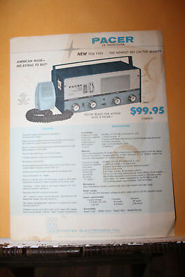 Vintage 1965 Pacer CB Transreceiver Advertising Sheet Mustang Metrotek Rare