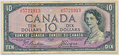 Bank Of Canada 10 Dollars 1954 Devil's Face Bc32B J/d5721913 - Vg/fn