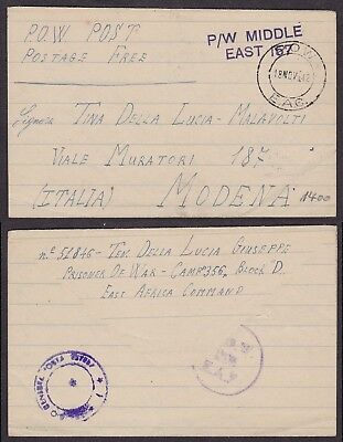 GB East Africa 1942 - POW Cover to Modena Italy - Censor 31842