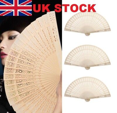 Chinese Bamboo Folding Hand Fan Wedding Party Flower Pattern Vintage Wooden COU