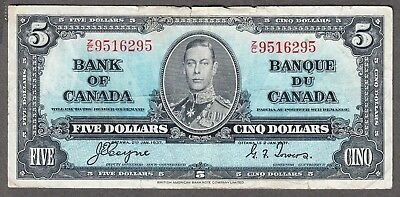 1937 Bank of Canada - $5.00 Bank Note - Fine/VF - Coyne Towers Z/C 9516295