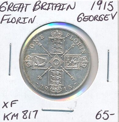 Great Britain Florin 1915  Km 817 George V - Xf