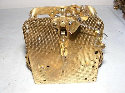 Vintage Mantle Clock Brass Movement Heavy Striking Crown Anchor Parts Restore