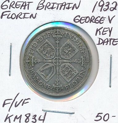 Great Britain Florin 1932 Km 834 George V - F/vf Key Date