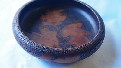 Antique Australian Pokerwork Bowl - Early 20th Century