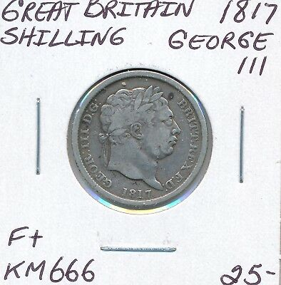 Great Britain Shilling 1817 Km 666 George Iii - F+