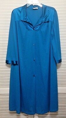 Vanity Fair Dark Teal Blue 3/4 Sleeve Robe Plus Size XXL 2X