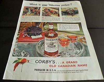 1948 Colorful Corby's Whiskey Print  Ad GREAT for Framing! Canada/Canadian