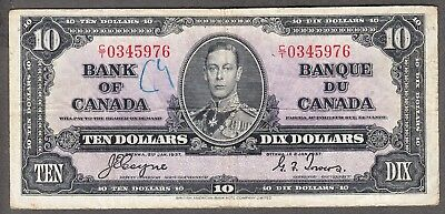 1937 Bank of Canada - $10.00 Bank Note - Fine - Coyne Towers C/T 0345976