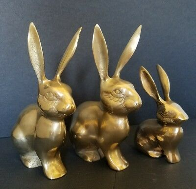 Set of 3 Vintage Brass Jack Rabbit Bunny Family Figure Collectible 6.25""