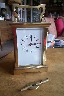 Carriage Clock,brass,key Wound By A C G(Gibson?) 8 Day,works Well,good Condition