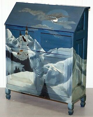 Stunning Hand Painted Writing Bureau Desk Depicting Castle In The Mountains