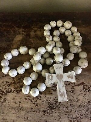New Vintage Home Decor Large Distressed Wooden Bead Rosary W/Organza Bag