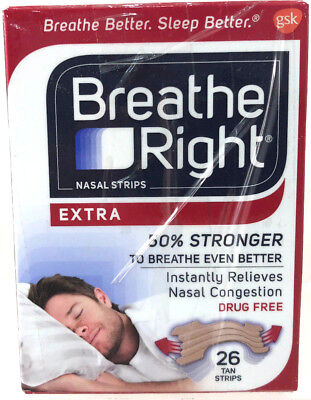 Breathe Right Nasal Strips Extra 50% Stronger New & Unused 26 Tan Strips