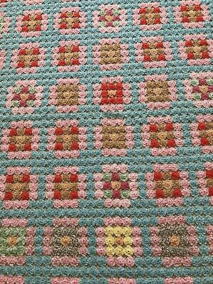 Vintage Handmade Hand Sewn YoYo Quilt Pink Blue Multiple Colors