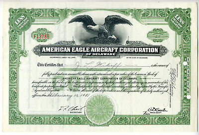 AMERICAN EAGLE AIRCRAFT Corp. Stock Certificate - 1931