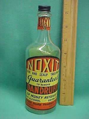 Vintage Noxit Hair and Scalp Dandruff Treatment Bottle Michigan EMPTY Display