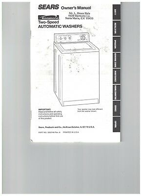Sear Users Guide Instruction Manual Kenmore Two Speed Automatic Washer 1990s