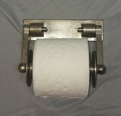 Antique Nickel Brass Toilet Tissue Paper Holder Vintage Industrial 123-18F