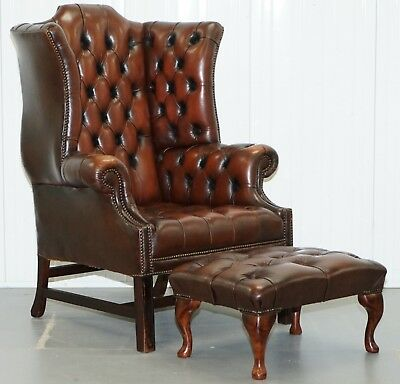 Georgian H Framed Chesterfield Wingback Brown Leather Armchair & Footstool