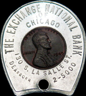 1949 Encased Indian Head Cent Chicago Illinois Exchange National Bank