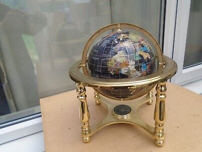 amazing gemstone globe with compass  WOW  unusual table top globe   TAKE A LOOK
