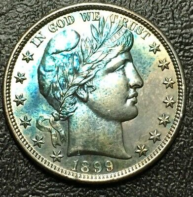 1892 Barber Silver Half Dollar Marked As GEM BU. it is colorful and nice looking