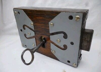 Antique church barn dungeon large wooden door lock